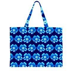 Turquoise Blue Flower Pattern On Dark Blue Large Tote Bag