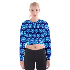 Turquoise Blue Flower Pattern On Dark Blue Women s Cropped Sweatshirt