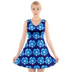 Turquoise Blue Flower Pattern On Dark Blue V-Neck Sleeveless Skater Dress