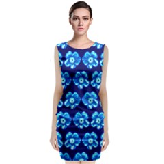Turquoise Blue Flower Pattern On Dark Blue Classic Sleeveless Midi Dress