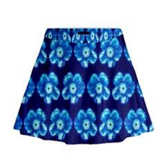 Turquoise Blue Flower Pattern On Dark Blue Mini Flare Skirt