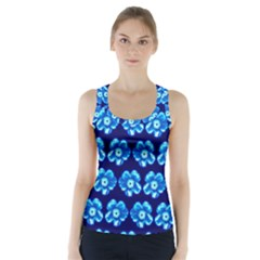 Turquoise Blue Flower Pattern On Dark Blue Racer Back Sports Top