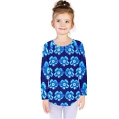 Turquoise Blue Flower Pattern On Dark Blue Kids  Long Sleeve Tee