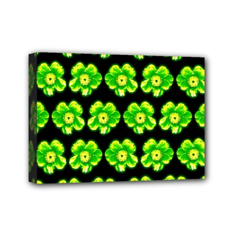Green Yellow Flower Pattern On Dark Green Mini Canvas 7  x 5