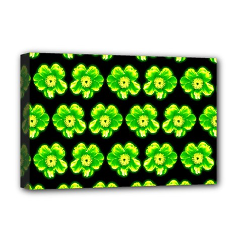 Green Yellow Flower Pattern On Dark Green Deluxe Canvas 18  x 12