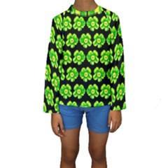 Green Yellow Flower Pattern On Dark Green Kids  Long Sleeve Swimwear