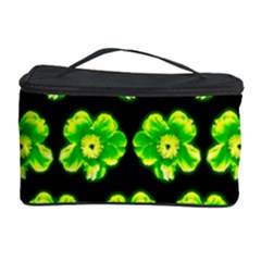 Green Yellow Flower Pattern On Dark Green Cosmetic Storage Case