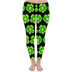 Green Yellow Flower Pattern On Dark Green Classic Winter Leggings