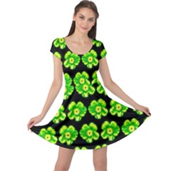 Green Yellow Flower Pattern On Dark Green Cap Sleeve Dresses