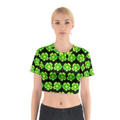 Green Yellow Flower Pattern On Dark Green Cotton Crop Top