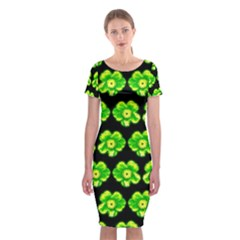 Green Yellow Flower Pattern On Dark Green Classic Short Sleeve Midi Dress