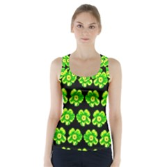 Green Yellow Flower Pattern On Dark Green Racer Back Sports Top