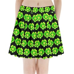 Green Yellow Flower Pattern On Dark Green Pleated Mini Skirt