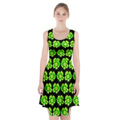 Green Yellow Flower Pattern On Dark Green Racerback Midi Dress