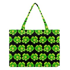Green Yellow Flower Pattern On Dark Green Medium Tote Bag