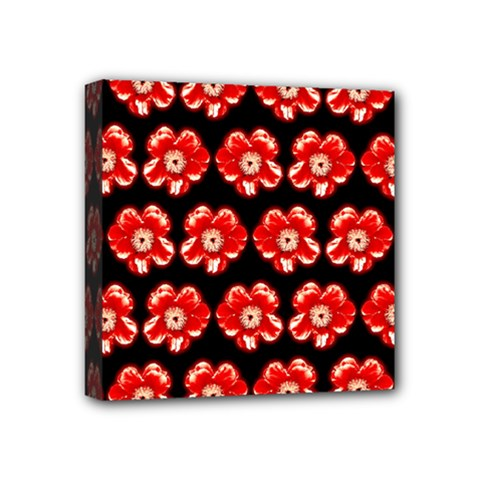 Red  Flower Pattern On Brown Mini Canvas 4  x 4