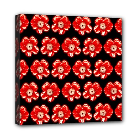 Red  Flower Pattern On Brown Mini Canvas 8  x 8