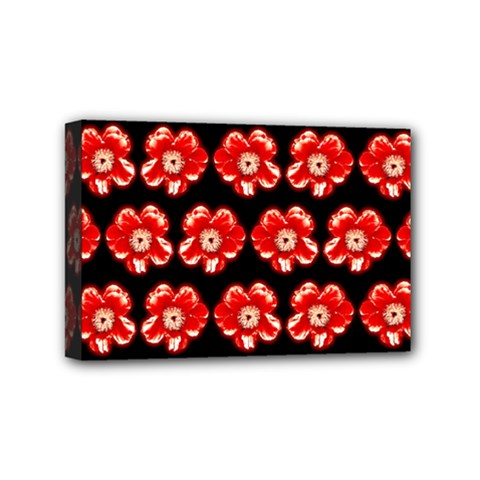 Red  Flower Pattern On Brown Mini Canvas 6  x 4