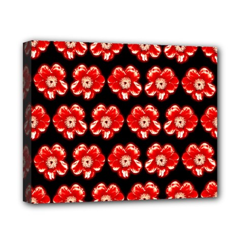 Red  Flower Pattern On Brown Canvas 10  x 8