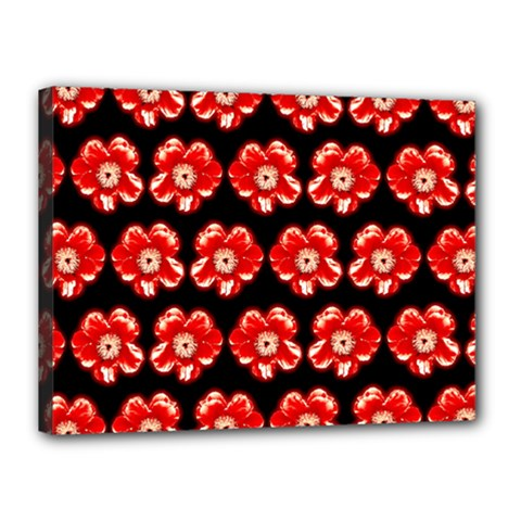 Red  Flower Pattern On Brown Canvas 16  x 12