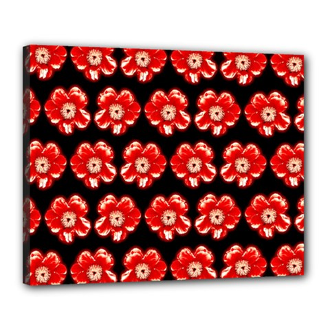 Red  Flower Pattern On Brown Canvas 20  x 16