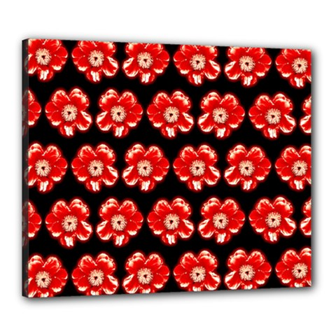 Red  Flower Pattern On Brown Canvas 24  x 20