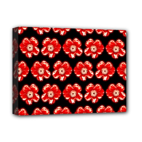 Red  Flower Pattern On Brown Deluxe Canvas 16  x 12