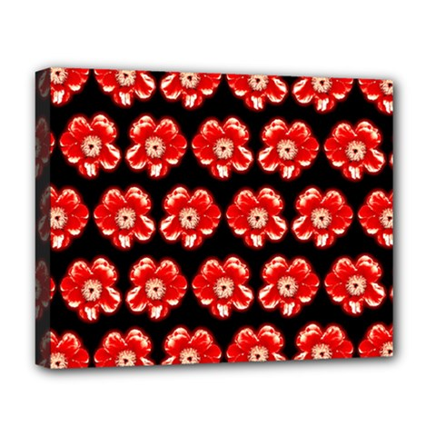 Red  Flower Pattern On Brown Deluxe Canvas 20  x 16