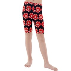 Red  Flower Pattern On Brown Kids  Mid Length Swim Shorts