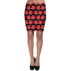 Red  Flower Pattern On Brown Bodycon Skirt