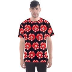 Red  Flower Pattern On Brown Men s Sport Mesh Tee