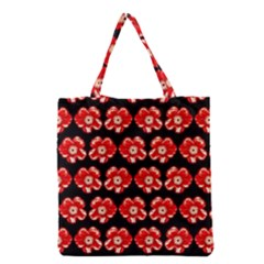 Red  Flower Pattern On Brown Grocery Tote Bag