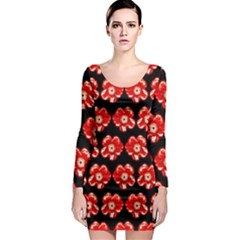Red  Flower Pattern On Brown Long Sleeve Bodycon Dress