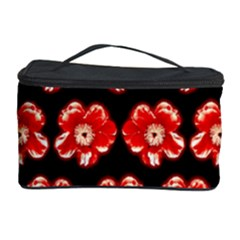 Red  Flower Pattern On Brown Cosmetic Storage Case