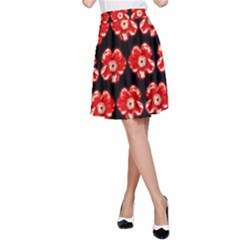 Red  Flower Pattern On Brown A-Line Skirt
