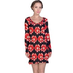 Red  Flower Pattern On Brown Long Sleeve Nightdress