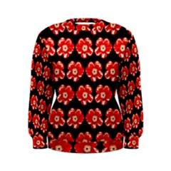 Red  Flower Pattern On Brown Women s Sweatshirt