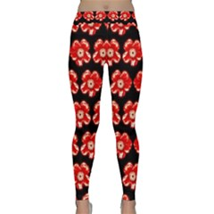 Red  Flower Pattern On Brown Classic Yoga Leggings