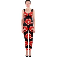 Red  Flower Pattern On Brown OnePiece Catsuit