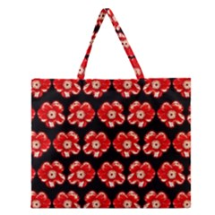 Red  Flower Pattern On Brown Zipper Large Tote Bag