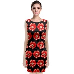 Red  Flower Pattern On Brown Classic Sleeveless Midi Dress