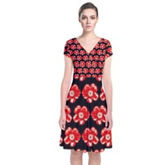 Red  Flower Pattern On Brown Short Sleeve Front Wrap Dress