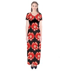 Red  Flower Pattern On Brown Short Sleeve Maxi Dress