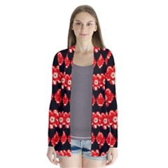 Red  Flower Pattern On Brown Cardigans