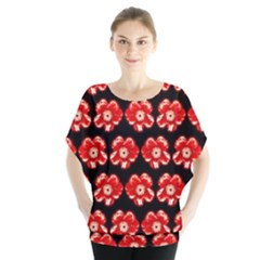 Red  Flower Pattern On Brown Blouse