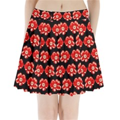 Red  Flower Pattern On Brown Pleated Mini Skirt