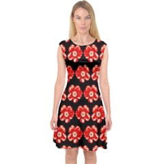 Red  Flower Pattern On Brown Capsleeve Midi Dress