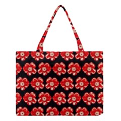 Red  Flower Pattern On Brown Medium Tote Bag