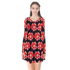 Red  Flower Pattern On Brown Flare Dress