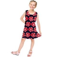 Red  Flower Pattern On Brown Kids  Tunic Dress